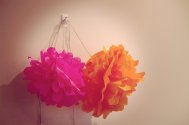 zawieszone na ścianie kwiaty z bibuły
